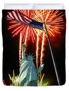 Miss Liberty And Fireworks Duvet Cover