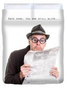 Miss You In The Funny Papers Duvet Cover