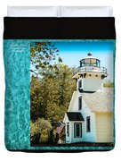 Mission Point Light House Michigan Duvet Cover
