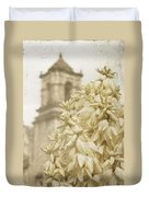 Mission San Jose And Blooming Yucca Duvet Cover