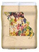 Missouri Map Vintage Watercolor Duvet Cover