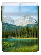 Mistaya River And Mountains Duvet Cover