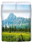 Mistaya River Valley And Mountain Range Duvet Cover