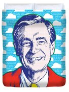 Mister Rogers Pop Art Duvet Cover