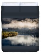 Mists And Bridge Over Klamath Duvet Cover
