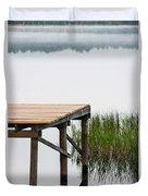 Misty Morning By The Dock Duvet Cover