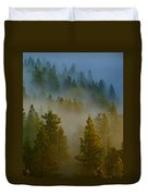 Misty Morning In The Pines Duvet Cover