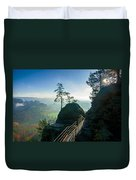 Misty Sunrise On Neurathen Castle Duvet Cover