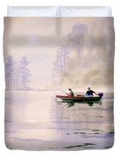 Misty Sunrise On The Lake Duvet Cover