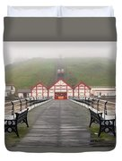 Misty View Of Victorian Pier  Redcar Duvet Cover