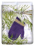 Mitten In Snowy Pine Tree Duvet Cover