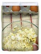 Mixing Egg Salad Ingredients Duvet Cover