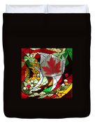 Mosaic  Stained Glass - Canadian Maple Leaf Duvet Cover