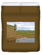 Moat And Wall Around Fortress In Louisbourg Living History Museum-ns Duvet Cover