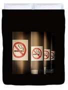 Mobile Photography Toned Row Of No Smoking Signs Duvet Cover