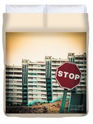 Mobile Photography Toned Stop Sign And Condo Units Duvet Cover