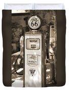 Mobilgas Special - Tokheim Pump  - Sepia Duvet Cover by Mike McGlothlen