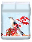 Mockingbird In The Leaves - Watercolor Duvet Cover