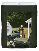 Model A Ford And Old Gas Station Illustration  Duvet Cover