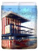 Modern-art Miami Beach Watchtower Duvet Cover by Melanie Viola