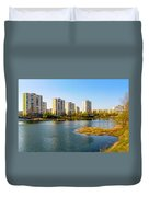 Modern Buildings Close To The Pond Duvet Cover