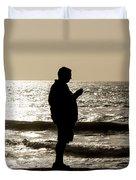Modern Man Looking At Smart Phone Duvet Cover