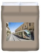 Modern Tram In Jerusalem Israel Duvet Cover