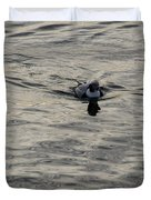 Moire Silk Water And A Long Tailed Duck Duvet Cover