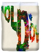 Moldova Typographic Watercolor Map Duvet Cover