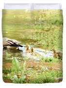 Mom And Babies Swimming Duvet Cover