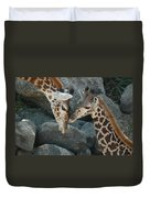 Mom And Baby Giraffe Duvet Cover