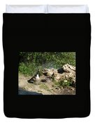 Mom Dad And Goslings Duvet Cover
