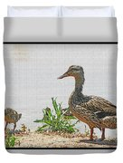 Momma Duck And Baby With A Different View Duvet Cover