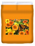 Monarch Among The Flowers Duvet Cover