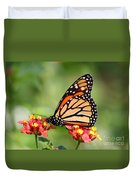 Monarch Butterfly On Lantana Flowers Duvet Cover