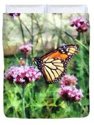 Monarch Butterfly On Pink Lantana Duvet Cover
