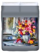 Monet Floral Edged Duvet Cover