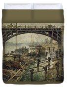 Monet The Coalmen 1875 Duvet Cover
