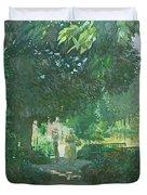 Monets Garden Oil On Board Duvet Cover