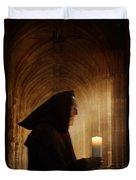 Monk With Candle In Cathedral Duvet Cover