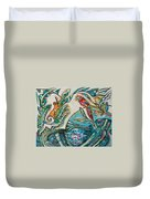 Monkey And Macaw Duvet Cover