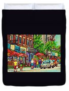 Monkland Tavern Corner Old Orchard Montreal Street Scene Painting Duvet Cover