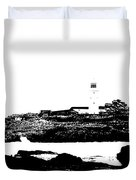 Monochromatic Godrevy Island And Lighthouse Duvet Cover