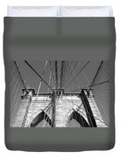 Monochromatic View Of Brooklyn Bridge Duvet Cover