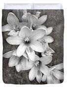 Monochrome Freesia Canvas Grunge Duvet Cover