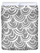 Monochrome Scallop Scales Duvet Cover
