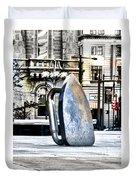 Monopoly Iron Statue In Philadelphia Duvet Cover