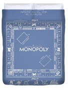 Monopoly Patent From 1935 - Light Blue Duvet Cover by Aged Pixel