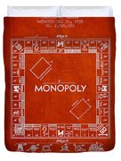 Monopoly Patent From 1935 - Red Duvet Cover by Aged Pixel