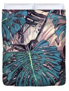 Monstera Blues Duvet Cover